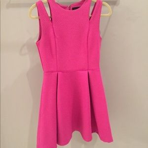 Hot Pink Fit & Flare Dress Cutouts XS